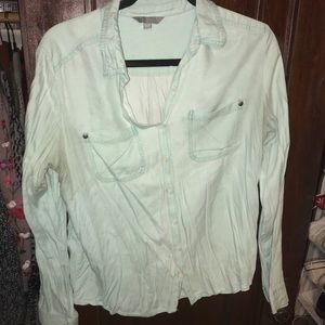 slouchy mint button up